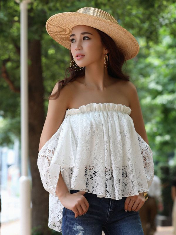 back long off shoulder lace tops