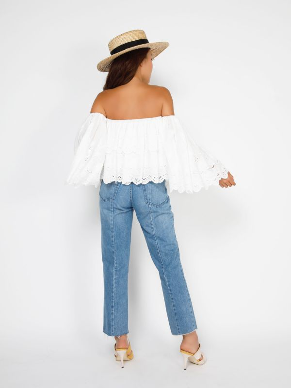 embroidery flare sleeve off shoulder tops