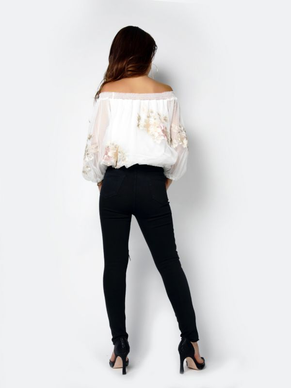 flower embroidery tule tops