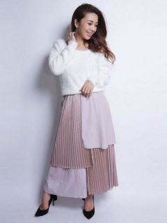 hyblrid pleated wide pants
