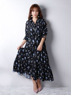 paint flower shirt dress