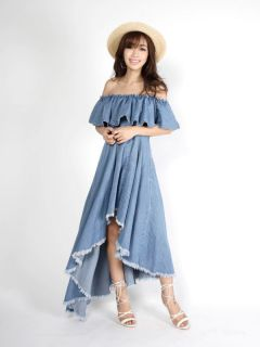 frill bare denim dress