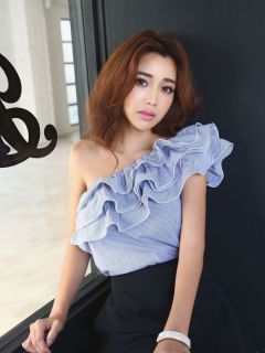 one shoulder frill tops