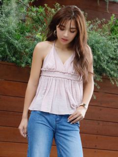 braid strap halterneck tops