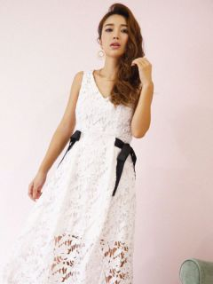 waist ribbon lace dress